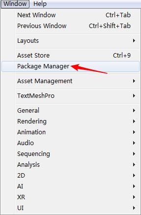 打开Package Manager窗口
